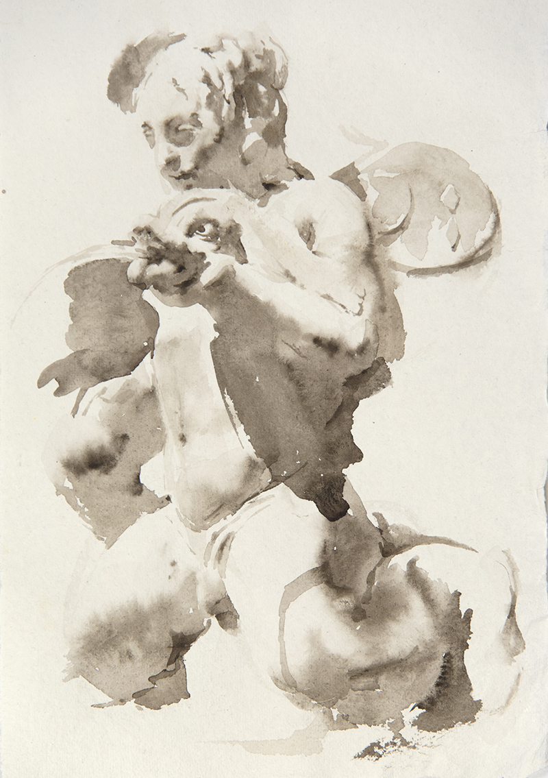 "Artist: Wendy Artin  Title: Villa Deste Young Triton Mermaid Holding Dolphin  Date: 2018  Size: 7.5"" x 11""  Method: Watercolor  Price:  Inquire"