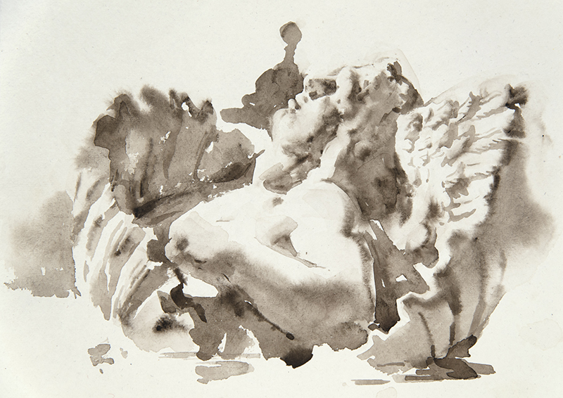 "Artist: Wendy Artin  Title: Shell Goddess VIlla Deste  Date: 2018  Size: 7.5"" x 9.5""  Method: Watercolor  Price:  Inquire"