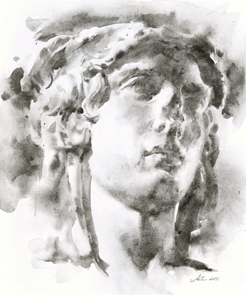"Artist: Wendy Artin  Title: Bifronte Head  Date: 2018  Size: 7"" x 8.7""  Method: Watercolor  Price:  Inquire"