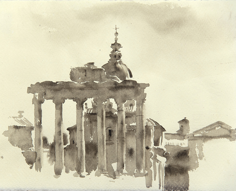 """Artist: Wendy Artin  Title: Temple of Saturn  Date: 2018  Size: 7"""" x 9""""  Method: Watercolor  Price:  Inquire"""