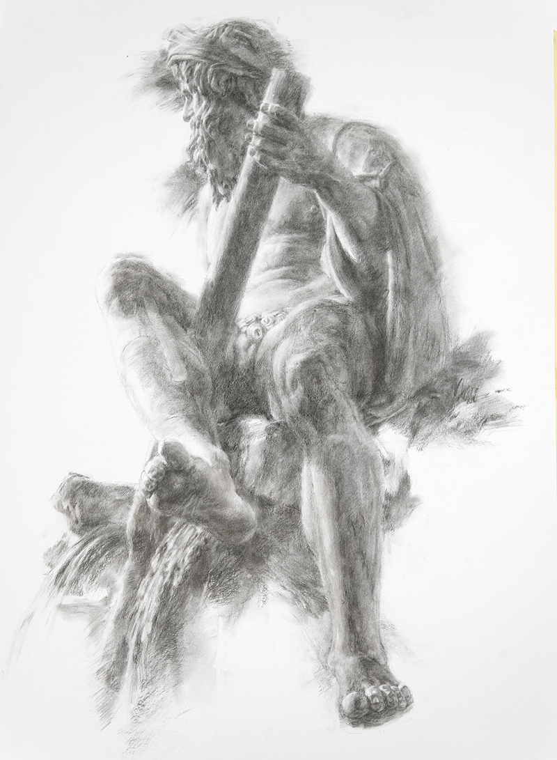 "Artist: Wendy Artin  Title: Ganges  Date: 2018  Size: 40"" x 55""  Method: Charcoal  Price:  Inquire"