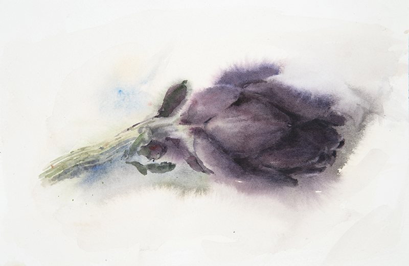 "Artist: Wendy Artin  Title: Violet Artichoke  Date: 2017  Size: 7"" x 10""  Method: Watercolor  Price:  Inquire"