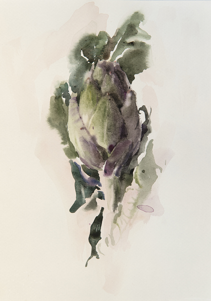 "Artist: Wendy Artin  Title: Quick Artichoke  Date: 2017  Size: 7.5"" x 9.8""  Method: Watercolor  Price:  Inquire"
