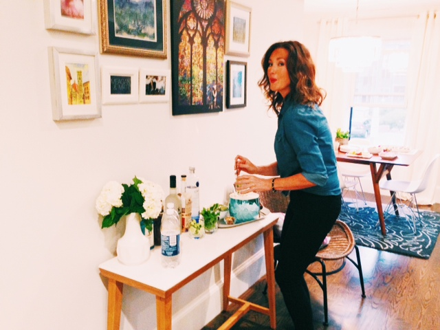 My girl Lauren- 1st to the drinks per usual!!!  Gallery wall was completed about 3 hours before people arrived!