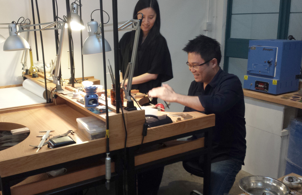 Mr. & Mrs Ng happy making silver rings!