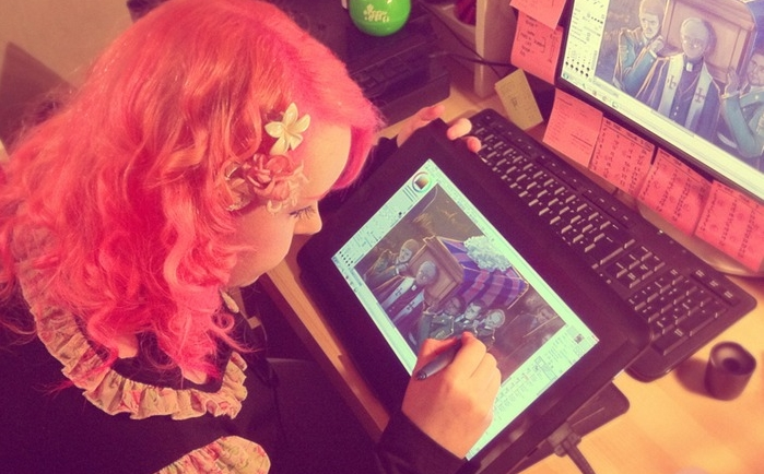 Illustrator Lynne Triplett hard at work on Issue #1 of FFF