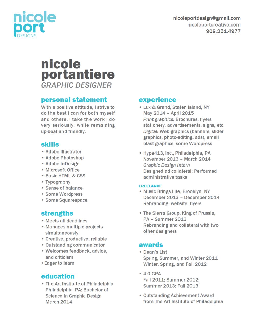 Resume Graphic Design By Nicole Portantiere