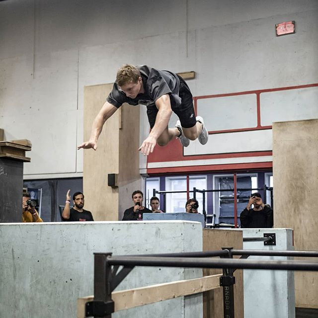 What does it feel like to be a champion? You'd have to ask @tim_champion. Here's a snap I took of him right as he was completing one of the three brutal skill challenges from last weekend's @sportparkour NAPC. Congrats again on defending your title, Tim! . 👕: @owlsgang 👖: @themotusprojects . #NAPC2018 #themotusprojects #owlsgangparliament #originsparkour #napc #parkour #kong #skill #vancouver #owlsgang