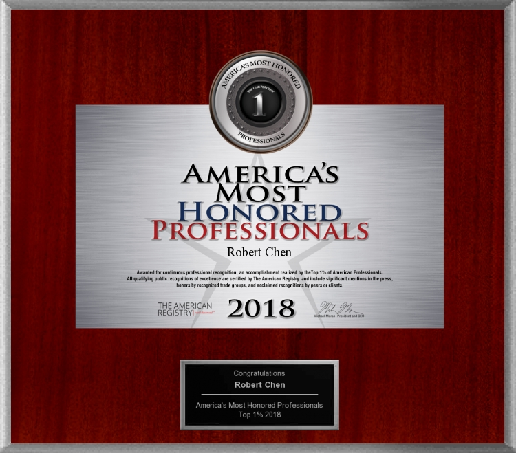 2018 America's Most Honored Professionals to Dermatologist Robert Chen MD PhD.jpg