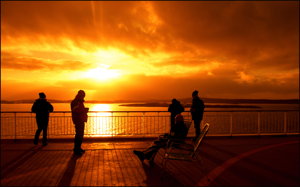 Sunset on deck (c) Hurtigruten