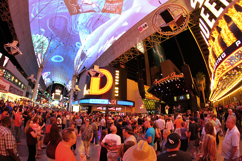 The five-block entertainment district, the Fremont Street Experience. Image courtesy of the Fremont Street Experience.
