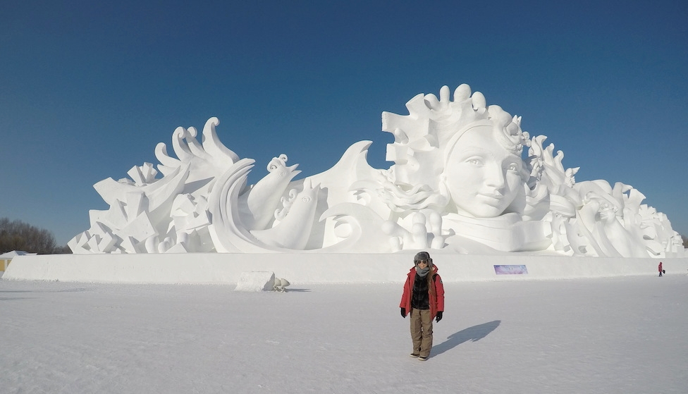 Cynthia Esquieres at the Harbin International Ice and Snow Sculpture Festival