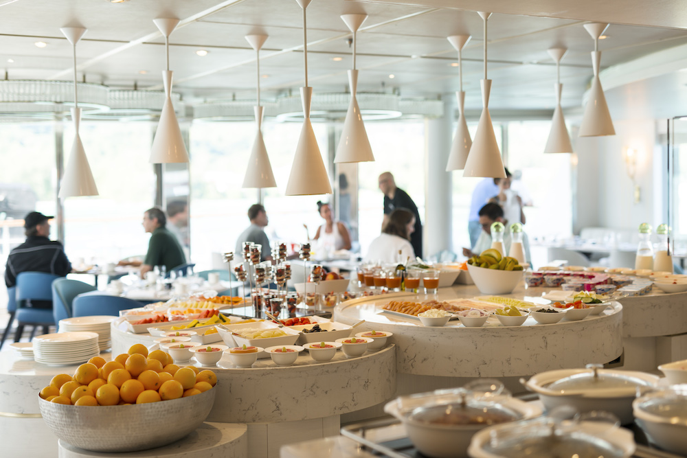 Breakfast and lunch is served buffet style. Image courtesy of Crystal Cruises.