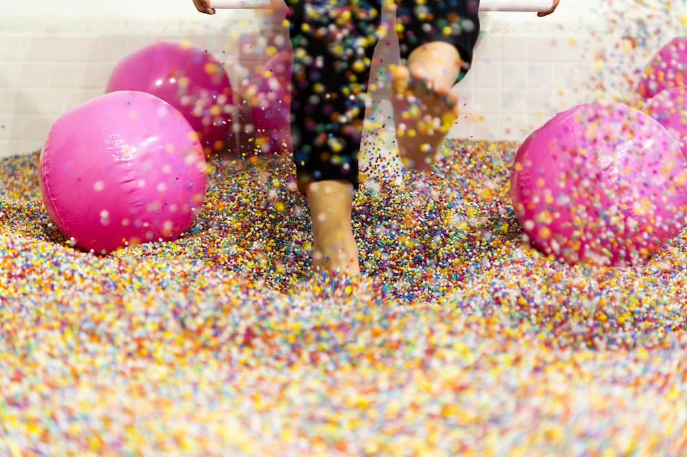 The sprinkle pool is made up of 100 million sprinkles! Image courtesy of Hypebae Eddie.