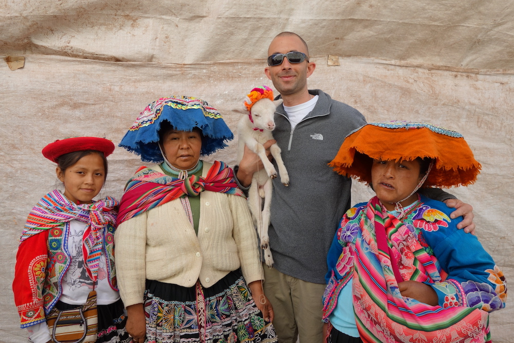 The writer snags an obligatory tourist photo in Cusco, Peru