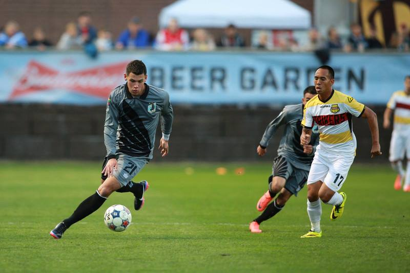 Christian Ramirez as he breaks down the Ft. Lauderdale Strikers in the first half of the NASL season (Photo Minnesota United FC)