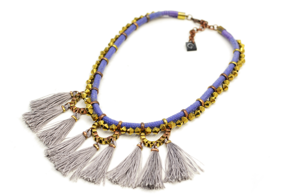 Electric Blue Rope Necklace with Mauve Tassels