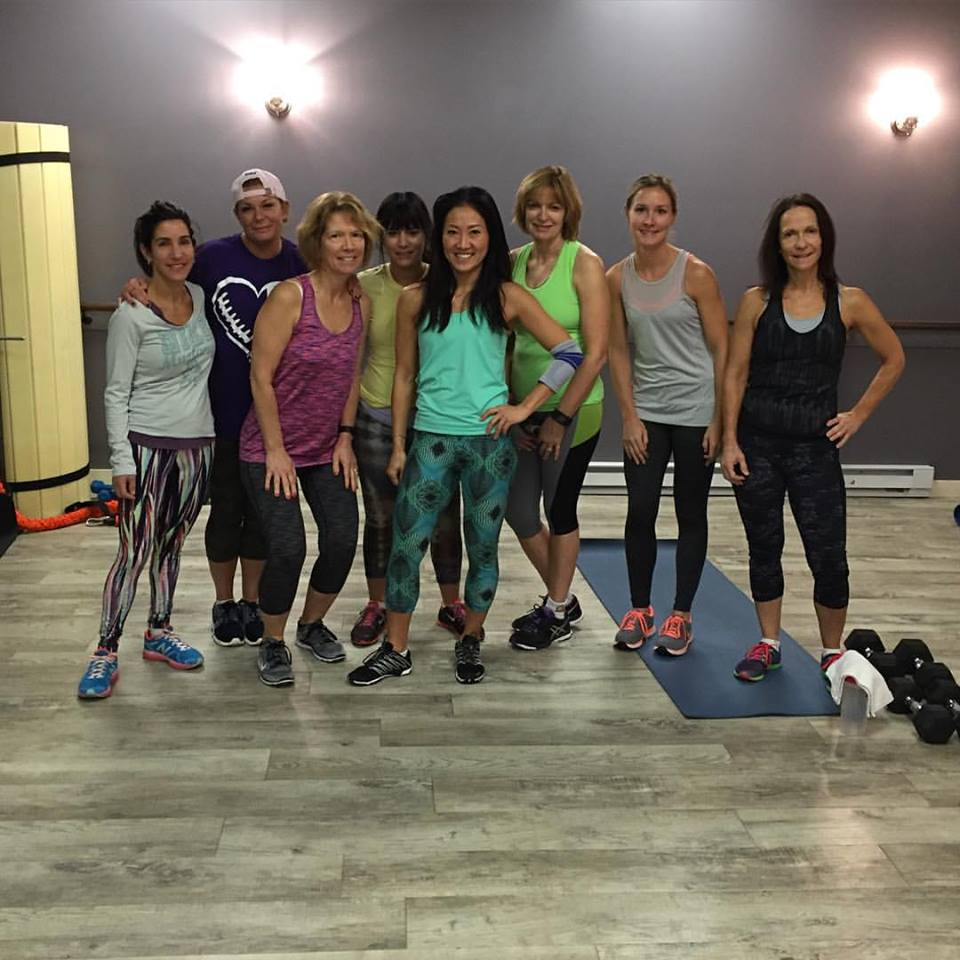 Anna with a few of her loyal following. Don't let her sweet smile fool you...she will give you the workout of your life!