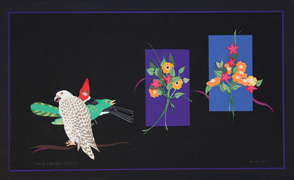 "Three Birds with Fifteen Flowers 26 x 15""  SOLD"