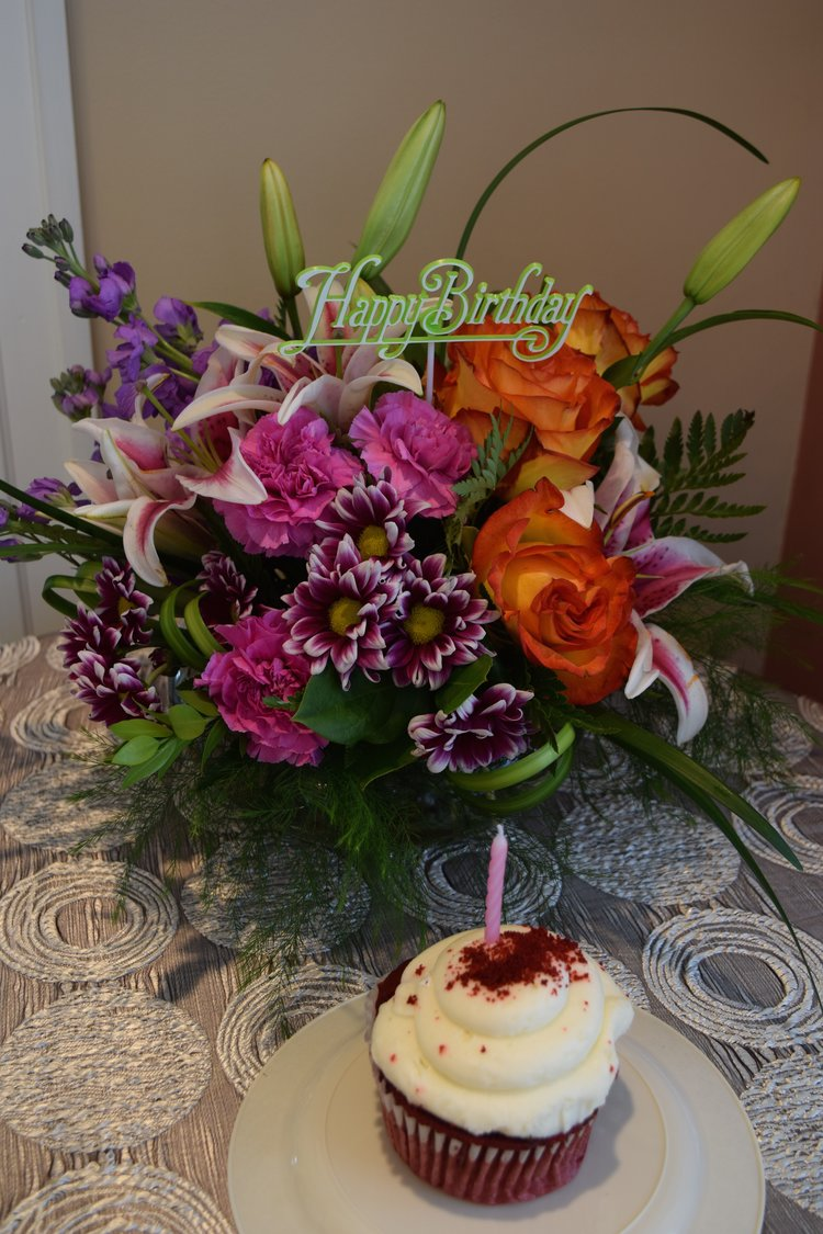 Birthday Blooms And A Giant Cupcake Too