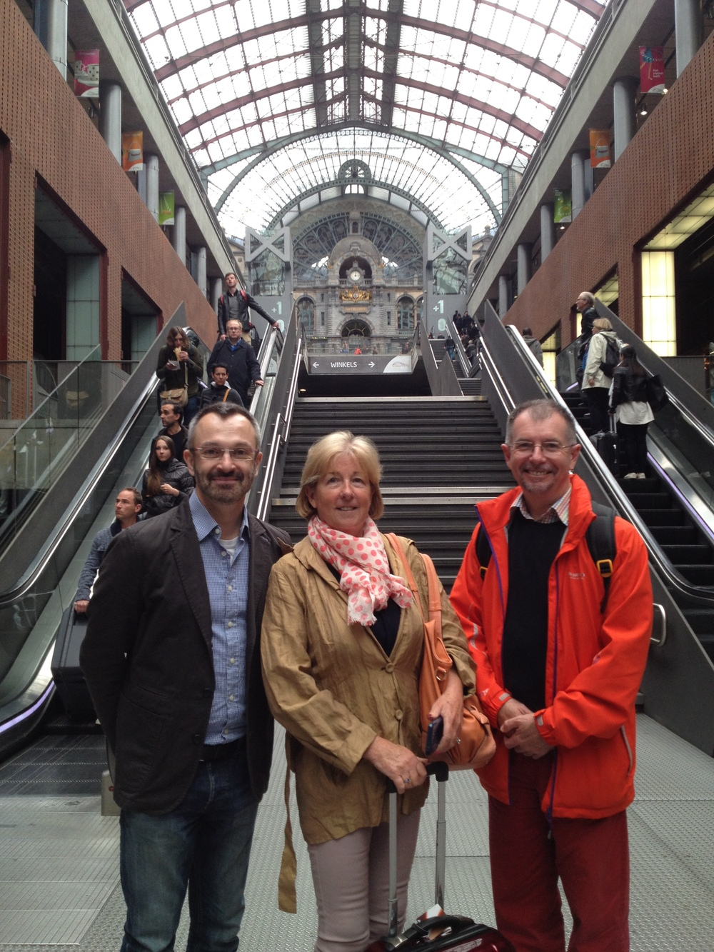 Nationally recognised Sexual, and Reproductive Health Nurses, Kathy French and Colin Roberts with Stephen Bitti, Managing Director of Nudge Associates arriving at Antwerp Station (May 2014)