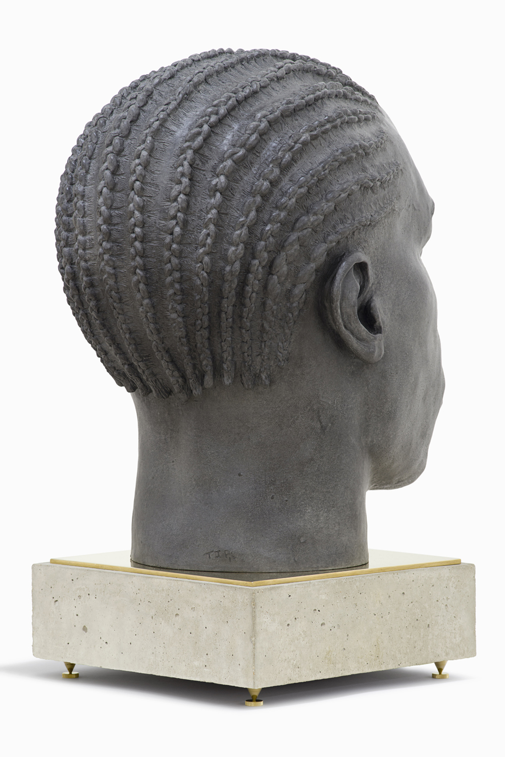 Tom Price, Base - Head (Surface Tension), 2014, bronze, brass and concrete, 77 x 45 x 60 cm [65 x 45 x 60 cm head, 12 x 40 x 40 cm base] [225].jpg