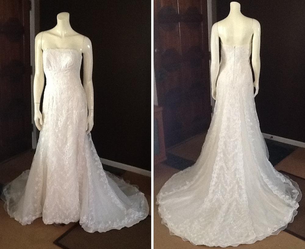 Pronovias Lace Strapless Wedding Dress, $481