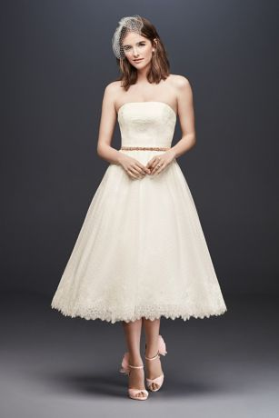 Dotted Tulle Tea-Length Wedding Dress with Lace _ David's Bridal.jpg