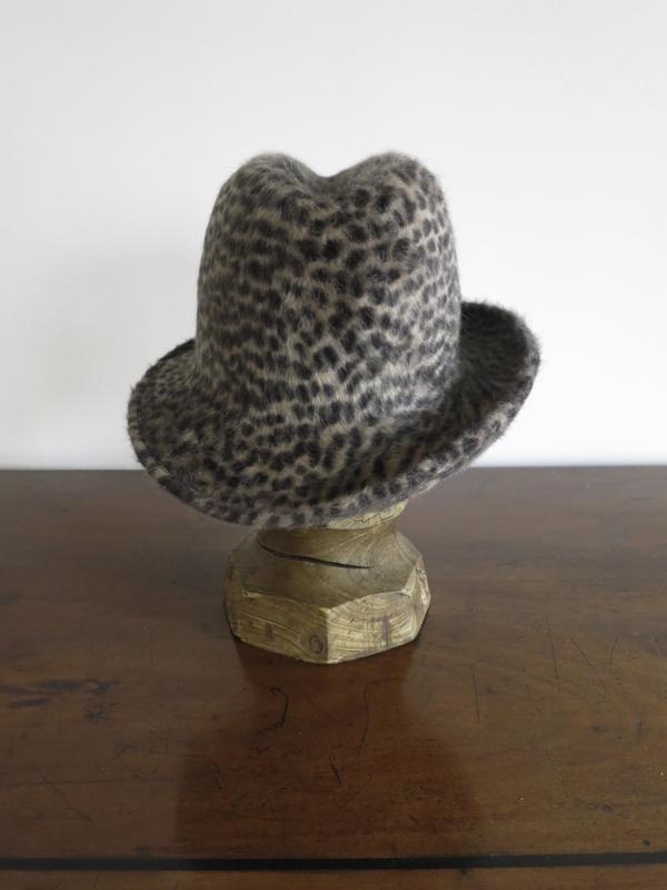 Cheeta Trilby. A luxurious cheeta print Melusine felt with a nice dip in the crown.