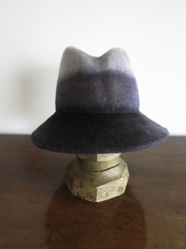 The Katie. Dip-Dye Melusine felt with a tall crown, dented in front. The brim can be worn down, or curved up.