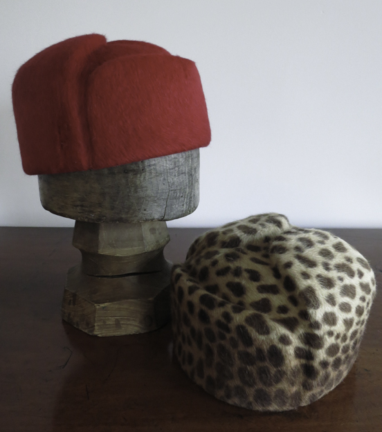The Natashia. Using a vintage hat block from Paris, this is a  faux Russian hat in Melusine fur felt, here in red and leopard print.