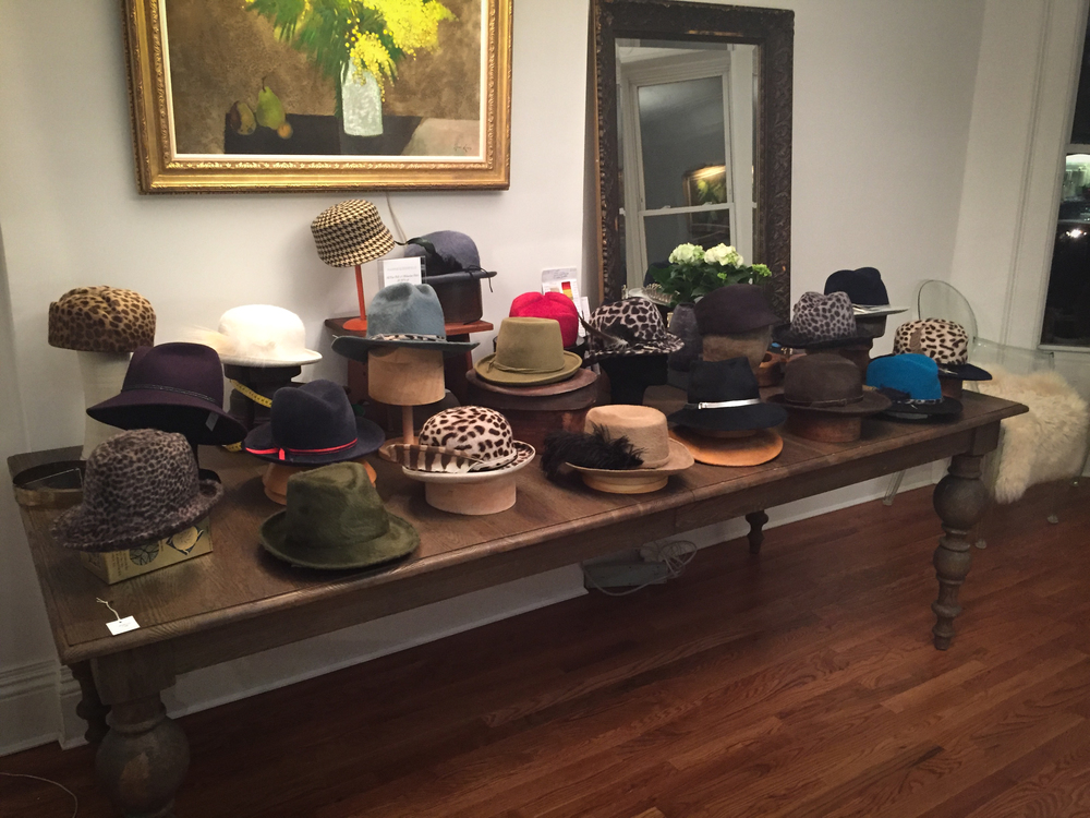 Display of mixed felt hats