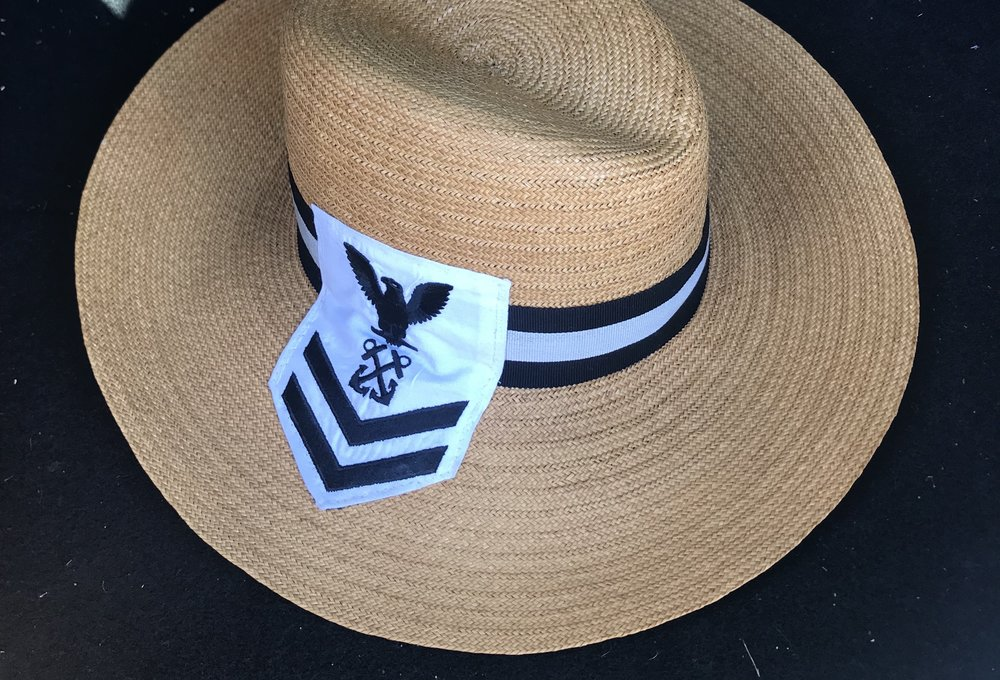 The MM Black and White - Florentine Straw Hat — marine   deerfield eecfd8dcb80