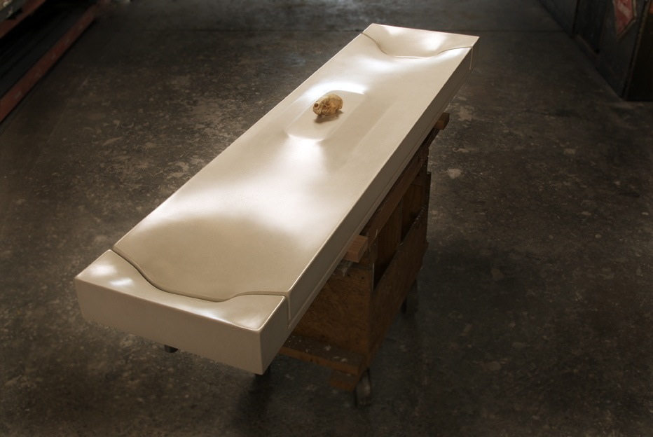 A fabric-formed cast concrete sink created by a 2.5 Day Fabric-Forming + GFRC Workshop