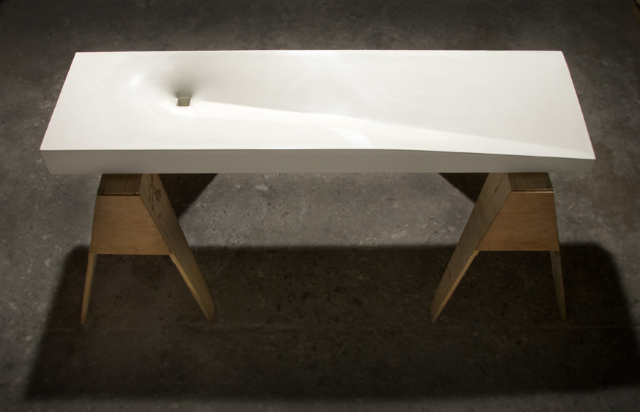 A stunning fabric-formed GFRC sink made by students of a 2.5 Day Fabric-Forming + GFRC Workshop