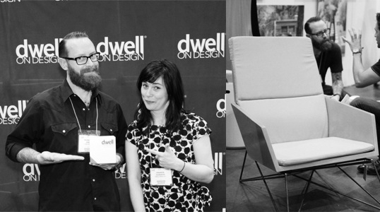 Brandon Gore accepting the award for 'Best Furniture Design' at Dwell on Design