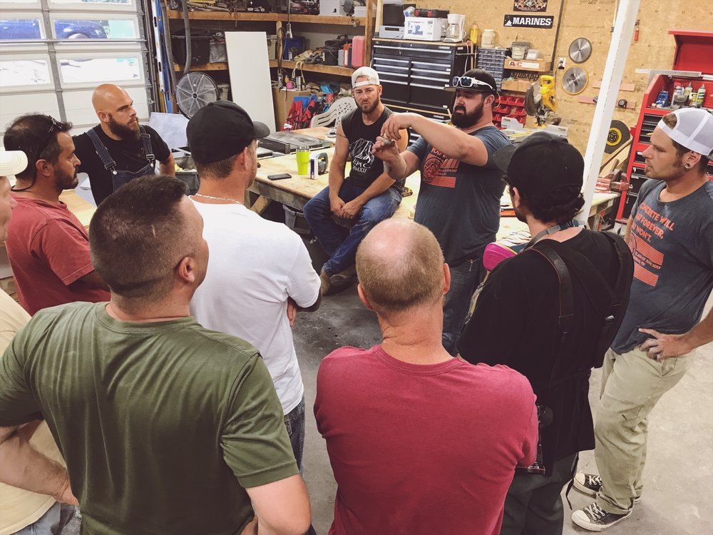 Brandon Browning sharing his knowledge with the Fabric-Forming Workshop