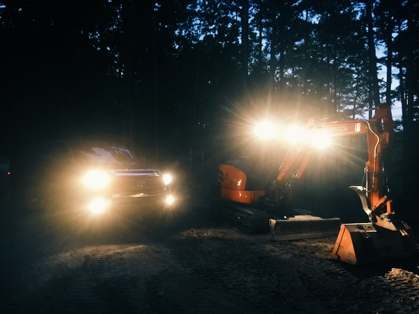 Sometimes we would work late into the night by the light of my truck and the Kubota.