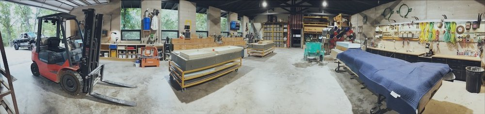 The studio just before the September 2018 DustyCrete Workshop.
