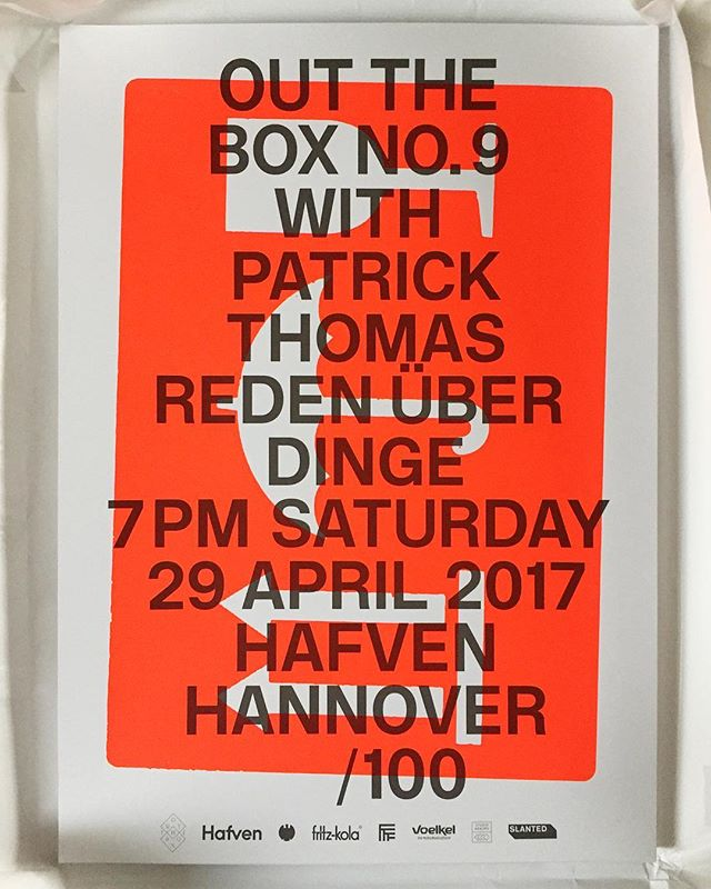 👌The limited-edition #silkscreen #poster that you get with your Out The Box ticket just arrived at @hafven 😍 Neon red + slightly transparent dark grey, #designed by @xpatrickthomas, #printed by @studio_akkord.