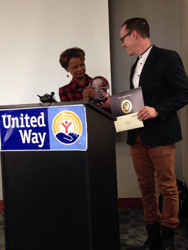 Executive Artistic Director, Justin Wade, receives Drug Free Marion County's Youth Advocate Award, 2014