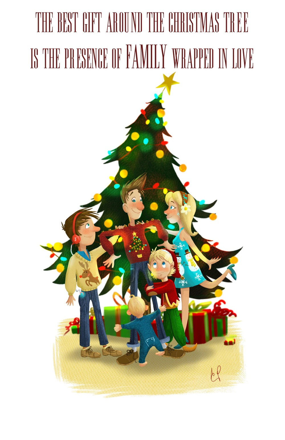 the best gift around the christmas tree is the presence of family wrapped in love adam walker parker illustration