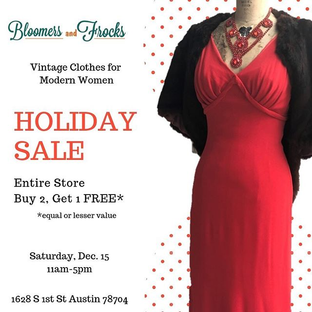 This Saturday! 12-5. It's @bloomersandfrocks biggest sale of the year. The more you buy, the more you save. The entire store is Buy Two, Get One Free. Includes gifts, candles, clothing, jewelry, furs, coats... EVERYTHING! If you shop like us, that's two for me, one for gifting! 🤣 They will he serving champagne for 21+. When you are finished shopping there, join the South First Sip and Stroll and shop other locally owned boutiques. Over 15 businesses participating including @passportvintage, @flashbackvtg,and @theartofshoesaustin! #shoplocal #sipandstroll #vintagesale