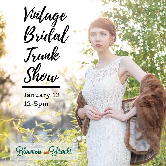 @bloomersandfrocks is hosting a Vintage Bridal Trunk show next Saturday, January 12, from 12-5pm, showcasing the most vintage bridal in Austin all in one place. Dresses, wraps, headpieces, jewelry, and champagne! @ameliasretrovogue and Deirdre Darling will also have their collections at the event. One afternoon only, 1628 S 1st St. Please tag all the brides-to-be below to help spread the word. #austinbride #texasbride #vintagebride