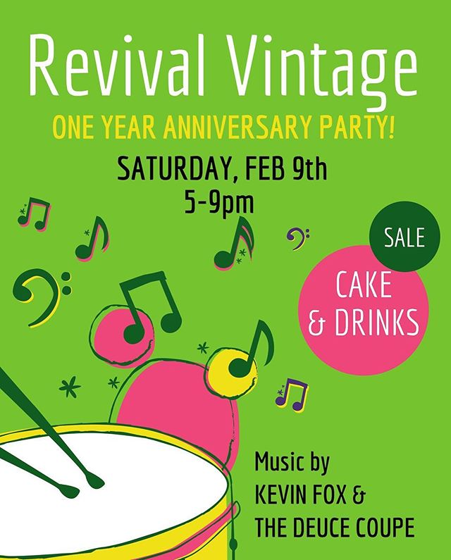 Hard to believe but we've been at our new location for a year now! Come celebrate with us SAT FEB 9th. Music starts at 7. Cake, drinks, and a storewide  sale during party hours. 🎉💚 @shop.revival.atx  @revivalvintageatx ——————————  #party  #austinvintage  #shoprevivalatx  #revivalvintageatx
