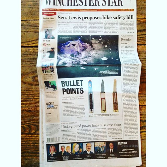 BULLET POINTS opens with a BIG BANG - front page coverage! The exhibition is now open at the Griffin Museum of Photography, through March 6th, 2016 #griffinmuseum #bulletpoints #fineartphotography