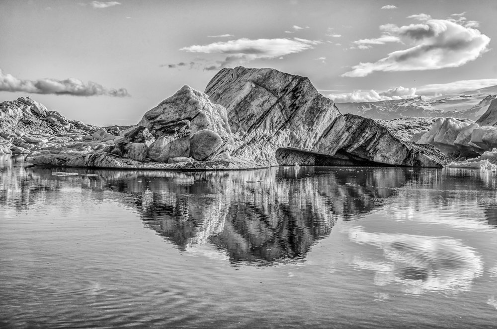 Jökulsárlón / Glacier Iceberg Reflection.  (Category: Landscape, B&W)     First Place Ribbon