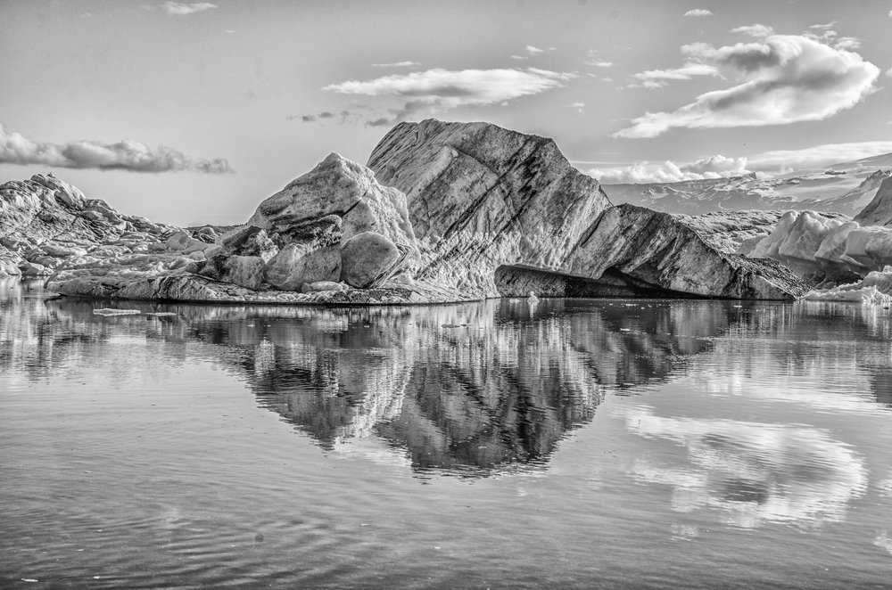 Icelandic Iceberg Reflection  (Category: B&W Scenic/Architectural)        First Place Ribbon