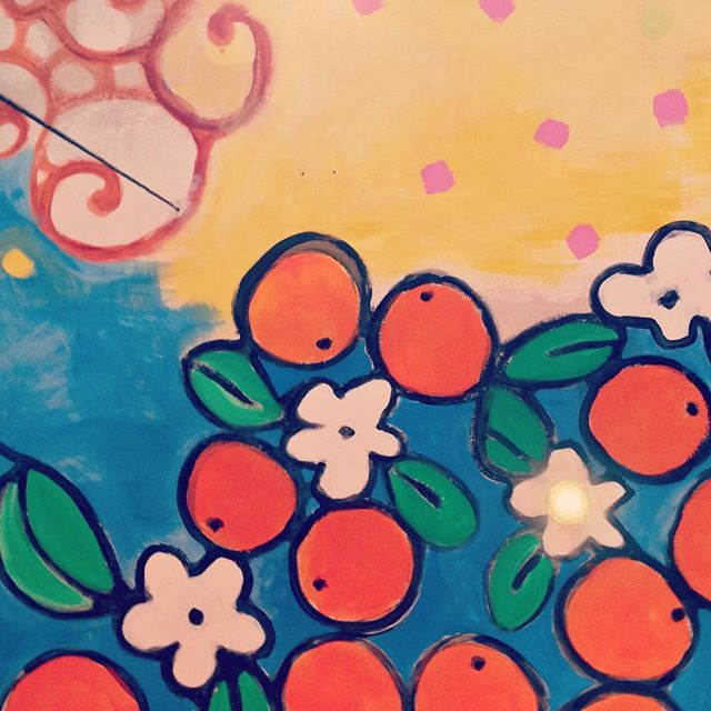 #🌺 #🍊 #🍋 #tbt #barcelona #spain #spanishsummer #vegan #restaurant #raval #murual #painting #graffiti