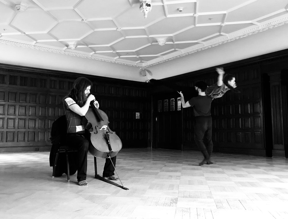 MARTIN REISLE, CELLIST WITH RACHEL HELTEN & JUAN VILLEGAS IN REHEARSAL AT THE HISTORIC ABERTHAU MANSION